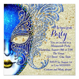 Royal Blue and Gold Masquerade Party 5.25x5.25 Square Paper Invitation Card