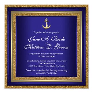 Royal Blue and Gold Nautical Wedding 13 Cm X 13 Cm Square Invitation Card
