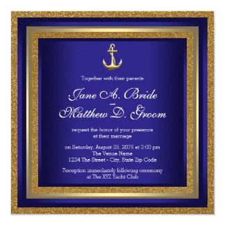 Royal Blue and Gold Nautical Wedding Announcements