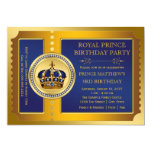 Royal Blue and Gold Prince Birthday Party Custom Invite