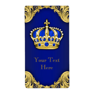 Royal Blue and Gold Prince Crown Wine Bottle Label
