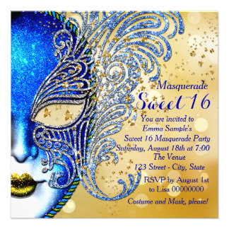 Royal Blue and Gold Sweet 16 Masquerade Party Custom Invitations