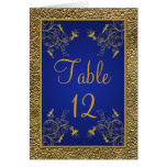 Royal Blue and Gold Table Number Card