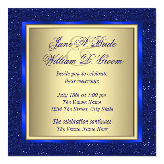 Royal Blue and Gold Wedding 13 Cm X 13 Cm Square Invitation Card