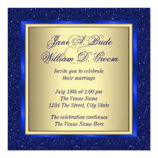 Royal Blue and Gold Wedding 13 Cm X 13 Cm Square Invitation Card