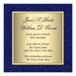 Royal Blue and Gold Wedding Card