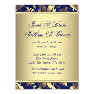 Royal Blue And Gold Wedding Invitations Announcements Zazzlecouk