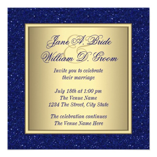 Royal Blue and Gold Wedding Invites