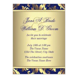 Royal Blue Gold Wedding Invitations Zazzle Co Uk