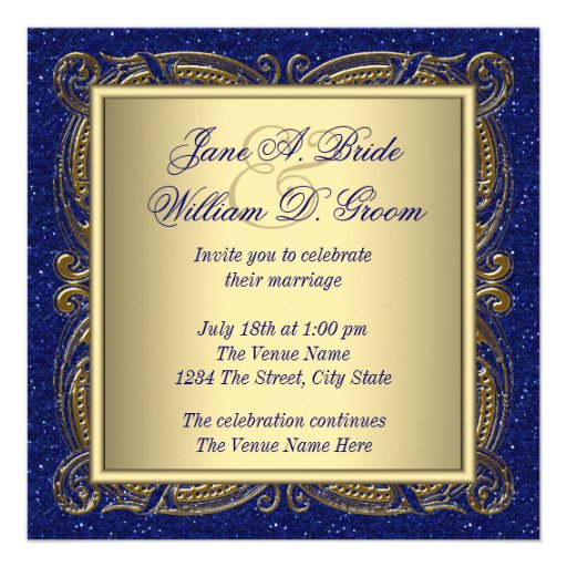 Royal Blue and Gold Wedding Announcement