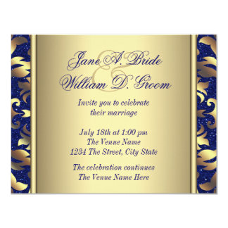 Royal Blue and Gold Wedding 4.25x5.5 Paper Invitation Card