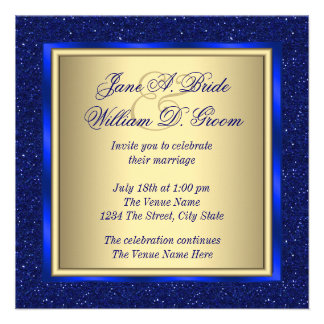 Royal Blue and Gold Wedding Custom Announcements