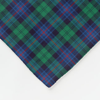 Royal Blue and Green Armstrong Clan Tartan Fleece Blanket