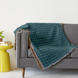 Royal Blue and Green Lamont Clan Scottish Plaid Throw Blanket