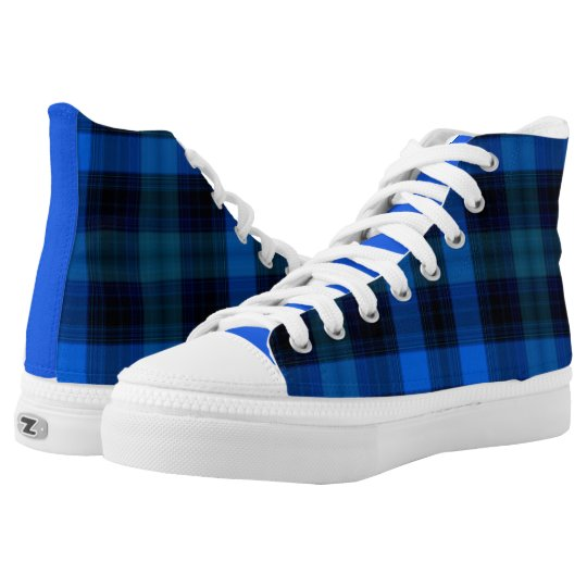 Royal Blue and Navy Plaid High Top Sneakers