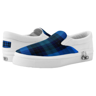 Royal Blue and Navy Plaid Slip On Sneakers