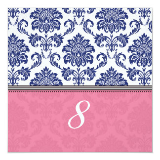 Royal Blue and Pink Damask Table Number Card