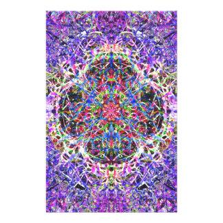 Royal Blue and Purple Abstract Mandala Pattern Personalized Stationery