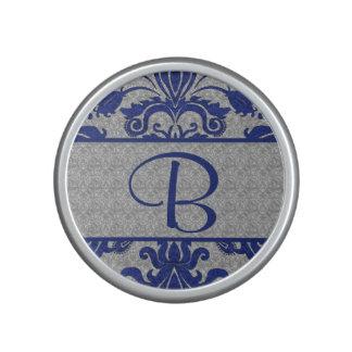 Royal Blue and Silver Damask | Monogram Speaker