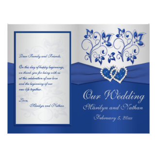 Royal Blue and Silver Floral Wedding Program Flyer