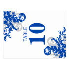 Royal Blue and Silver Flourish Table Number Card