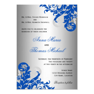royal blue and silver wedding invitations & announcements | zazzle, Wedding invitations
