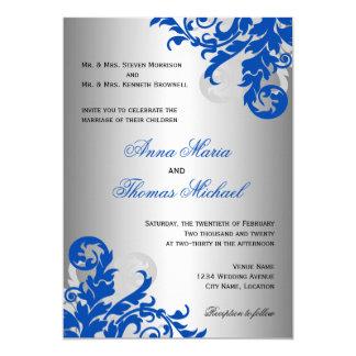 Royal Blue and Silver Flourish Wedding Card