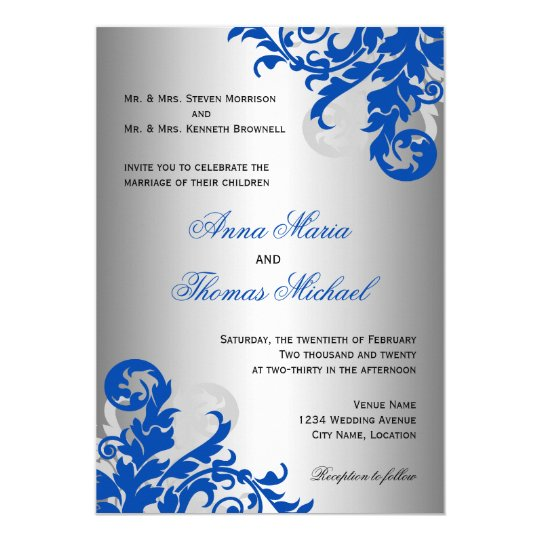 Royal Blue And Silver Flourish Wedding Card Great Pictures