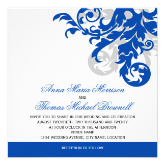 Royal Blue and Silver Flourish Wedding Personalized Invites