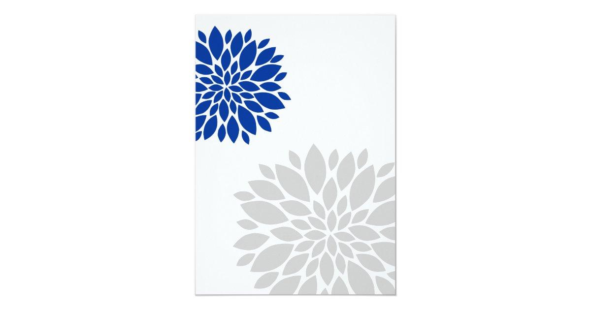 royal blue and silver grey floral burst wedding 13 cm x 18 cm invitation card zazzle. Black Bedroom Furniture Sets. Home Design Ideas