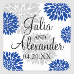 Royal Blue and Silver-Grey Floral Burst Wedding Square Stickers
