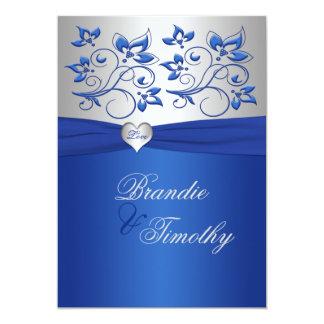 Royal Blue and Silver Heart Wedding Invitation