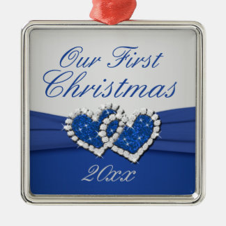 Royal Blue and Silver Joined Hearts Ornament