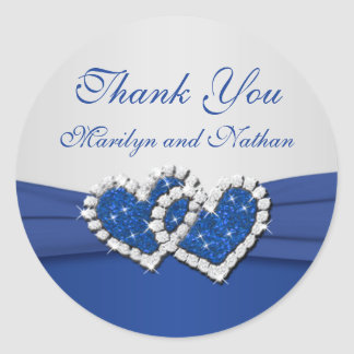 Royal Blue and Silver Joined Hearts Sticker