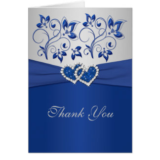 Royal Blue and Silver Joined Hearts Thank You Card
