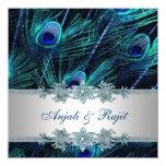 Royal Blue and Silver Royal Blue Peacock Wedding 13 Cm X 13 Cm Square Invitation Card