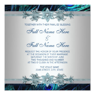 Royal Blue and Silver Royal Indian Peacock Wedding Card