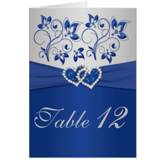 Royal Blue and Silver Table Number Card