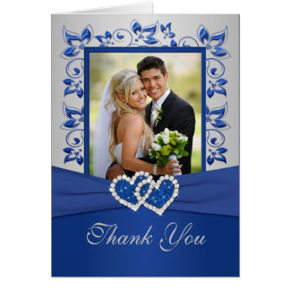Royal Blue and Silver Thank You Card with Photo