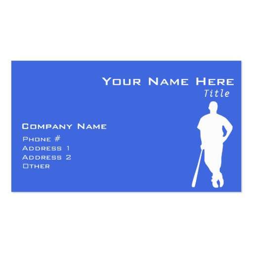 Royal Blue and White Baseball Business Card Template