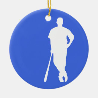 Royal Blue and White Baseball Christmas Ornament