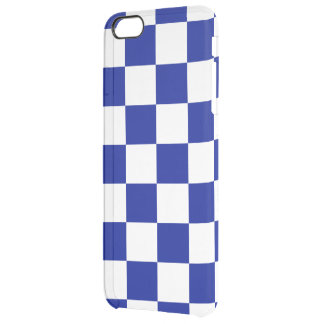 Royal Blue and White Checkered Pattern Clear iPhone 6 Plus Case