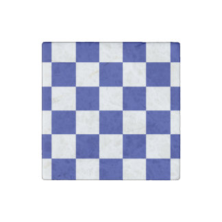 Royal Blue and White Checkered Pattern Stone Magnet