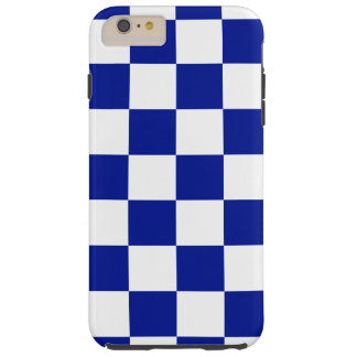 Royal Blue and White Checkered Pattern Tough iPhone 6 Plus Case
