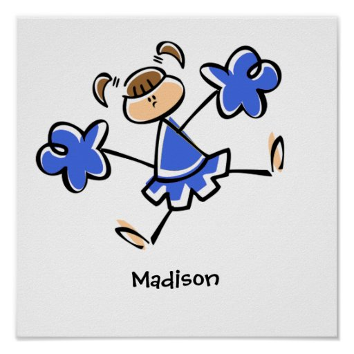 Royal Blue and White Cheerleader Poster