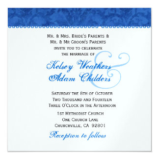 Royal Blue and White Damask Wedding Template