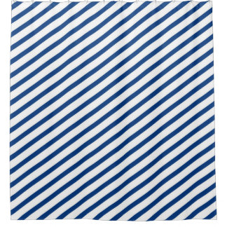 Royal Blue and White Diagonal Stripes Modern Shower Curtain
