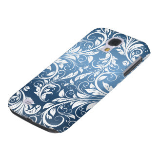 Royal Blue and White Floral Damask Pattern Galaxy S4 Case