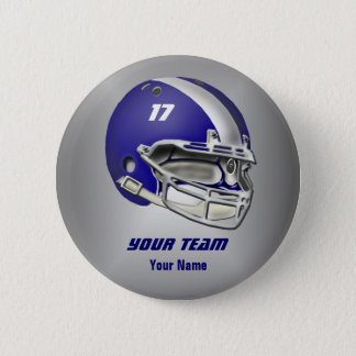 Royal Blue and White Football Helmet 6 Cm Round Badge