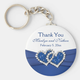 Royal Blue and White Joined Hearts Keychain